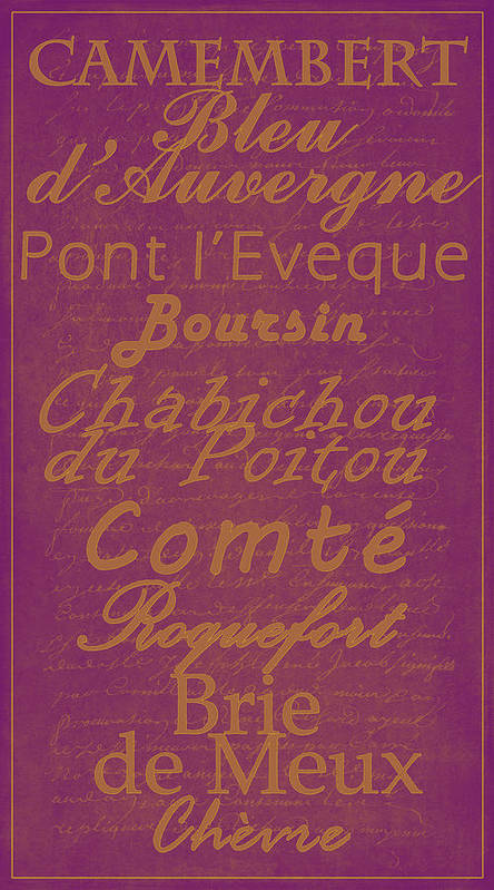 Feature Poster featuring the digital art French Cheeses - 3 by Paulette B Wright