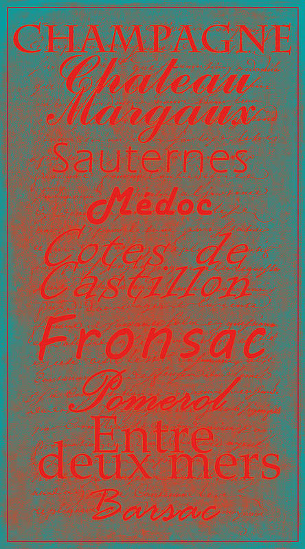 Feature Poster featuring the digital art French Wines - 5 Champagne And Bordeaux Region by Paulette B Wright