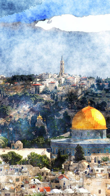 Jerusalem Poster featuring the painting Jerusalem by MotionAge Designs
