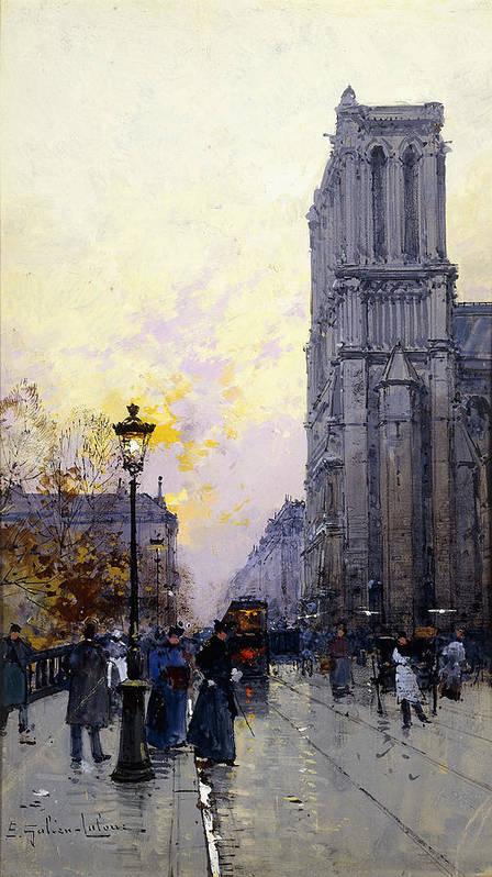 Building Poster featuring the painting Notre Dame De Paris by Eugene Galien-Laloue