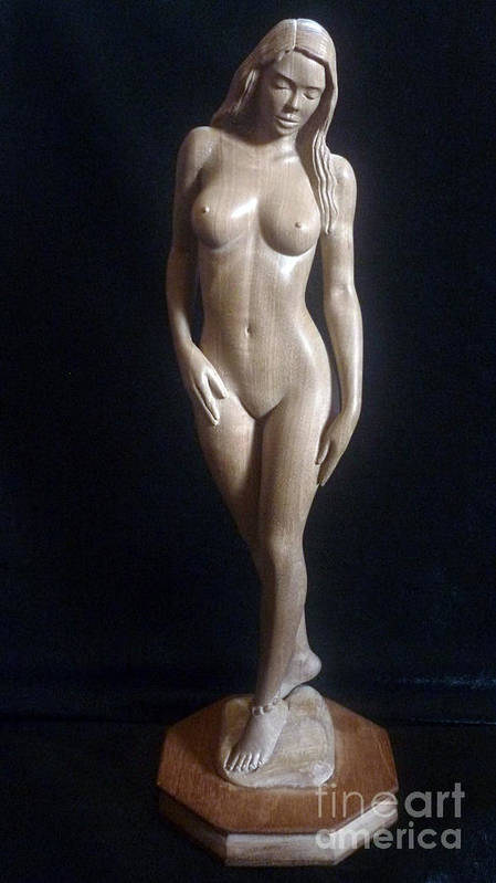 Nude Woman Wood Sculpture Poster featuring the sculpture Nude Woman - Wood Sculpture by Ronald Osborne