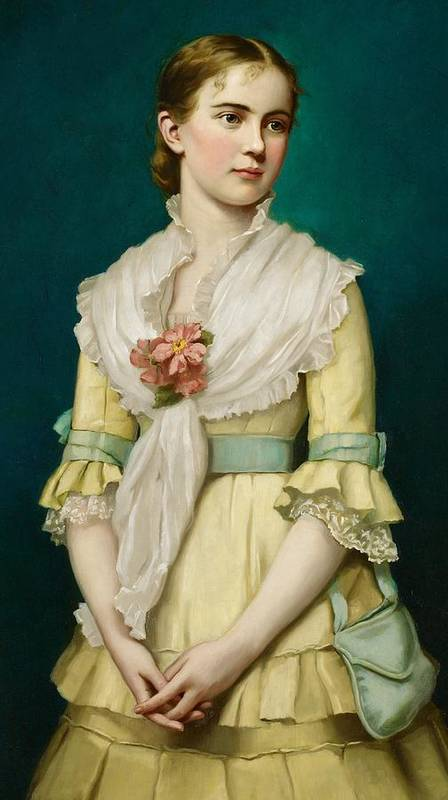 Portrait Poster featuring the painting Portrait Of A Young Girl by George Chickering Munzig