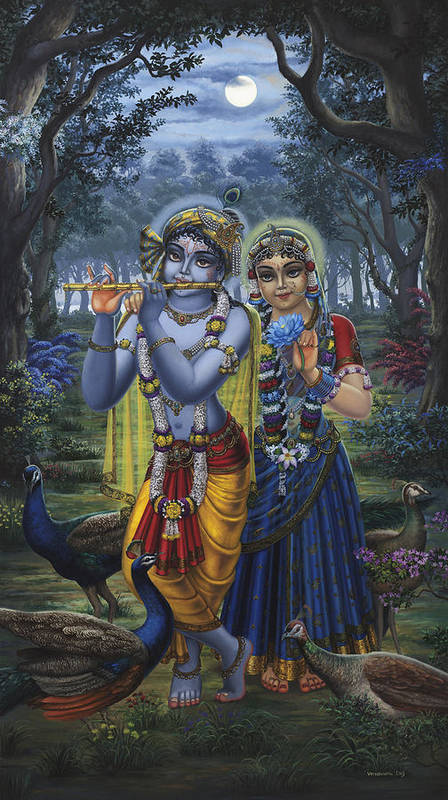 Krishna Poster featuring the painting Radha And Krishna On Full Moon by Vrindavan Das