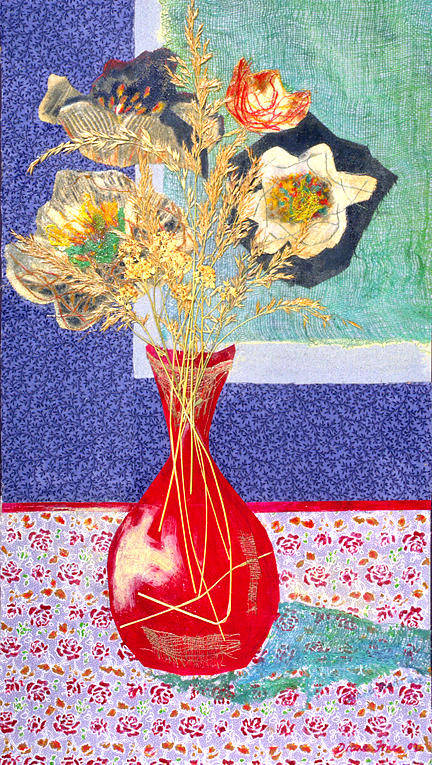 Flowers In A Vase Poster featuring the mixed media Red Vase I by Diane Fine