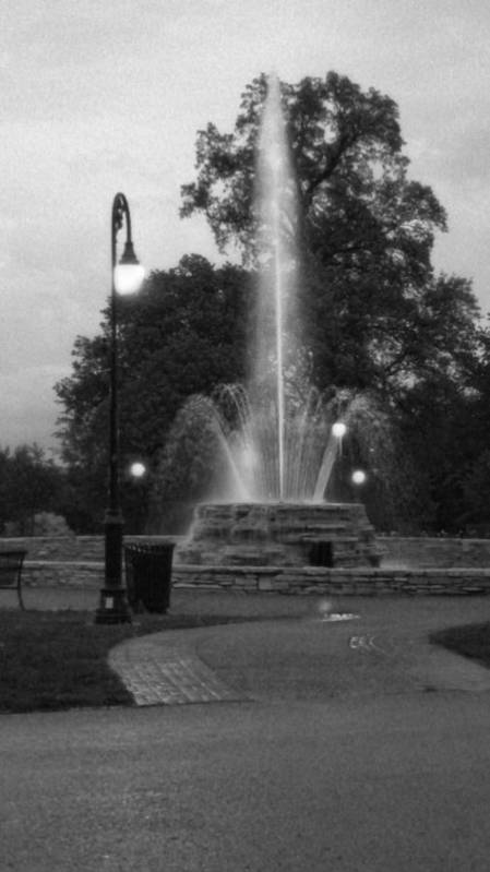 Vander Veer Park Botanical Center Fountain Poster featuring the photograph Vander Veer Fountain At Twilight by Heidi Brandt