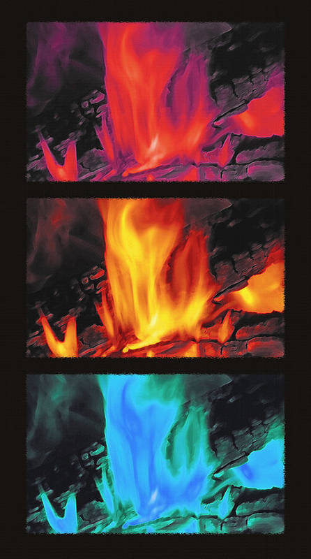 Fire Poster featuring the photograph Flames Triptych by Steve Ohlsen