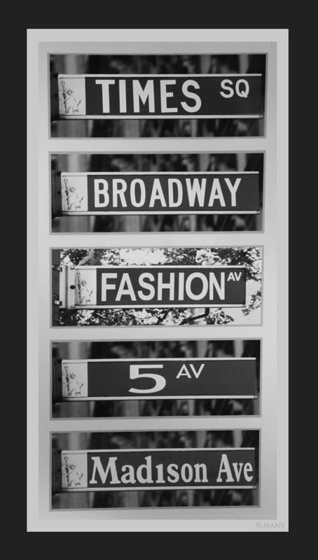 Black And White Poster featuring the photograph Signs Of New York In Black And White by Rob Hans