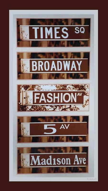 Brown Poster featuring the photograph Signs Of New York by Rob Hans
