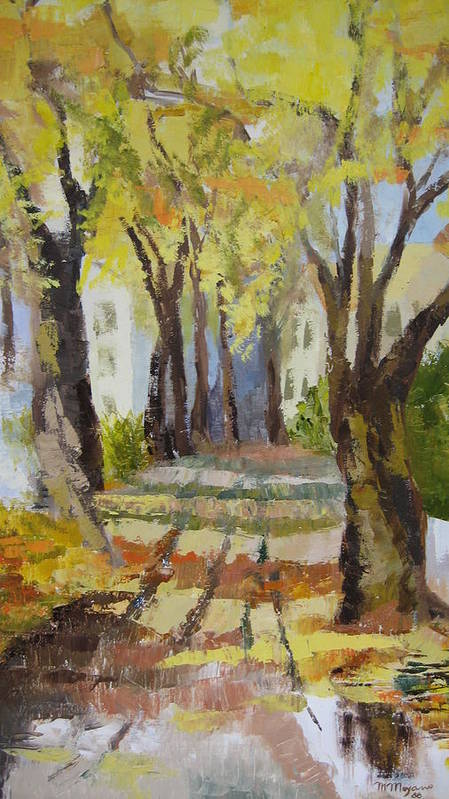Landscape Poster featuring the painting Autumn Street by Mabel Moyano