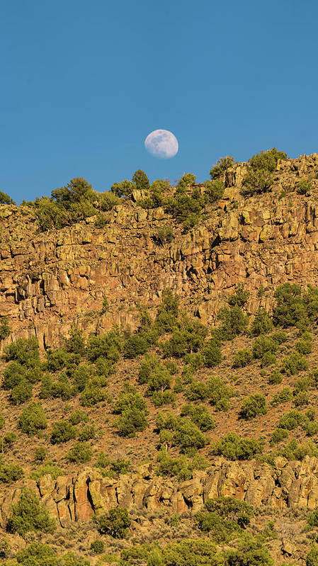 New Mexico Poster featuring the photograph Moonrise Rio Grande Gorge Pilar New Mexico by Lawrence S Richardson Jr