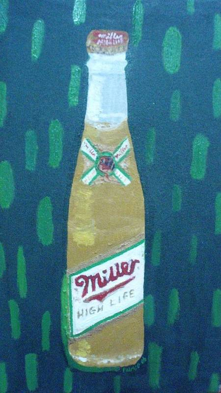 Pop Art Poster featuring the painting Bottle Of Miller Beer by Patrice Tullai