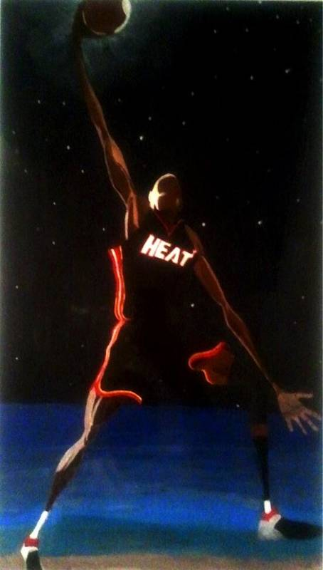Nba Poster featuring the painting Dwade Eclipse by Brandon Hughes