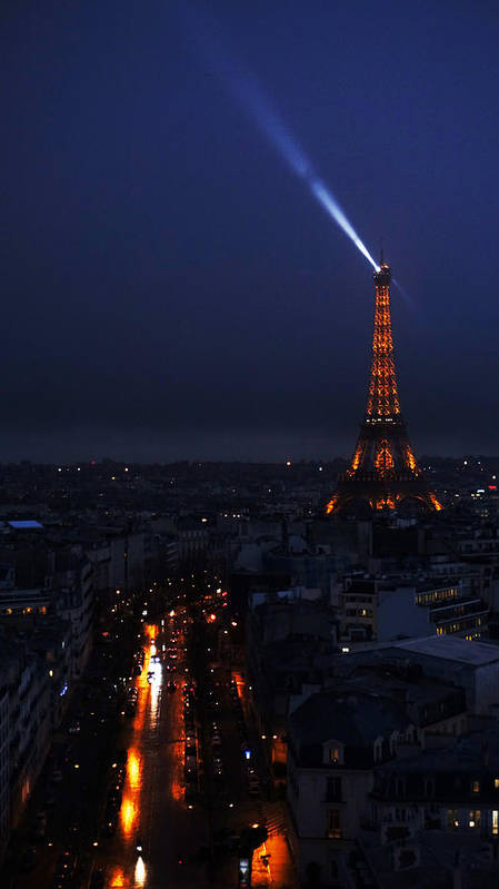 Europe Poster featuring the photograph Eiffel Tower Spotlight Paris France by Lawrence S Richardson Jr