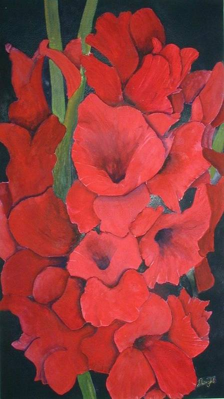 Flowers Poster featuring the painting Glads by Dwight Williams