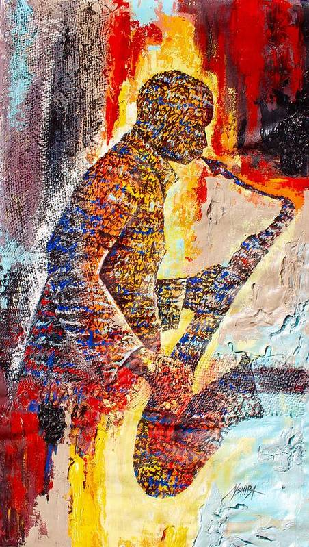 True African Art Poster featuring the painting Live Music by Daniel Akortia