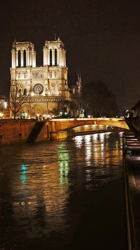 Europe Poster featuring the photograph Notre Dame Bridge Paris France by Lawrence S Richardson Jr