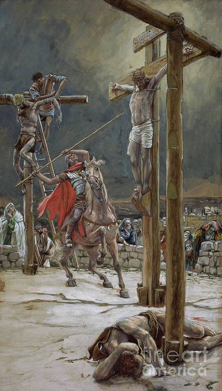 One Of The Soldiers With A Spear Pierced His Side Poster featuring the painting One Of The Soldiers With A Spear Pierced His Side by Tissot