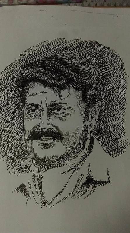 Pen Drawing Mohanlal Poster