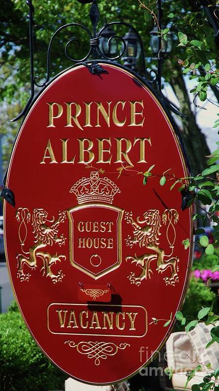Sign Art Provincetown Cape Cod Guest House Travel Destination Vacation Inn Whimsical Summer Accommodation Red Garden Vertical Advertising New England Luxury Souvenir Canvas Print Metal Frame Poster Print Available On T Shirts Phone Cases Greeting Cards Tote Bags And Beach Towels Poster featuring the photograph Prince Albert Guest House Sign Provincetown by Poet's Eye