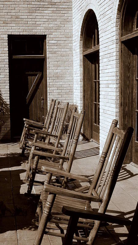 Chairs Poster featuring the photograph Rocking To Relax by Karen Musick