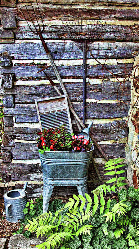 Creative Poster featuring the photograph Rural American Graden Scene by Linda Phelps