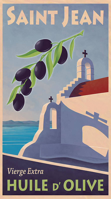 Retro Poster featuring the painting Saint Jean Olive Oil by Mitch Frey