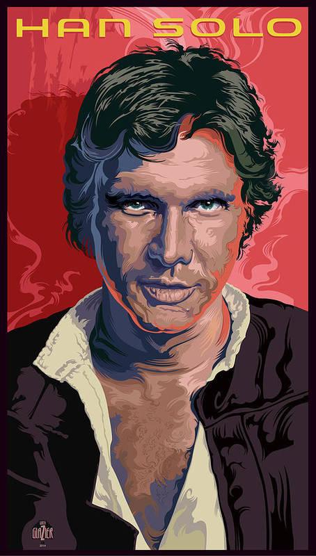 Modern Comic Designs Poster featuring the digital art Star Wars Han Solo Pop Art Portrait by Garth Glazier