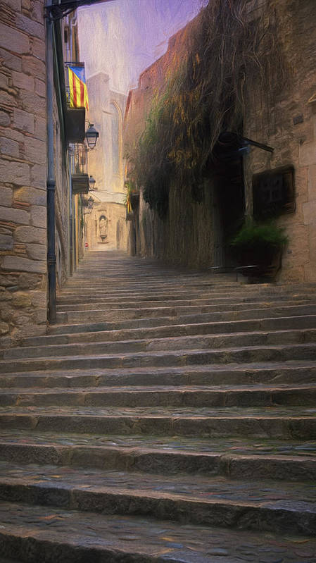 Joan Carroll Poster featuring the photograph Steep Steps Of Girona by Joan Carroll
