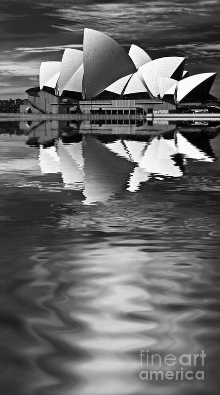 Sydney Opera House Monochrome Black And White Poster featuring the photograph Sydney Opera House Reflection In Monochrome by Sheila Smart Fine Art Photography