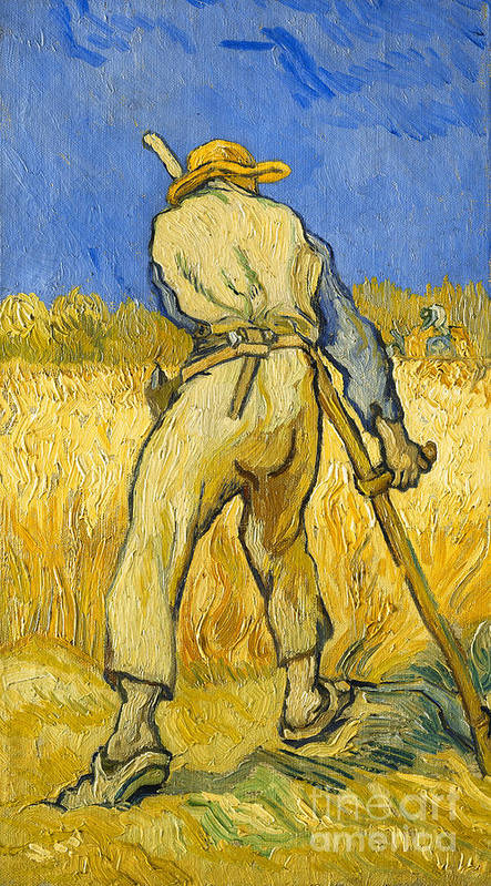 Agricultural Worker; Agriculture; Backview; Belt; Blue Sky; Clogs; Closeup; Clothes; Clothing; Countryside; Crop; Daytime; Dutch Art; Dutch Artist; European Artist; Farm Worker; Farming; Field; Full-length; Garment; Hammer; Hand Tool; Hat; Harvest; Harvesting; Harvester; Modern Art; Legs Apart; Livelihood; Looking Down; Male; Man; Post-impressionism; Post-impressionist; Reaper; Rearview; Rural; Scythe; Sickle; Sky; Standing; Sunlight; Sunny; Trousers; Twist; Twisted; Using Hands; Work; Worker Poster featuring the painting The Reaper by Vincent van Gogh