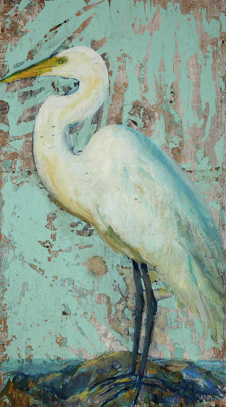 Crane Poster featuring the painting White Crane by Billie Colson