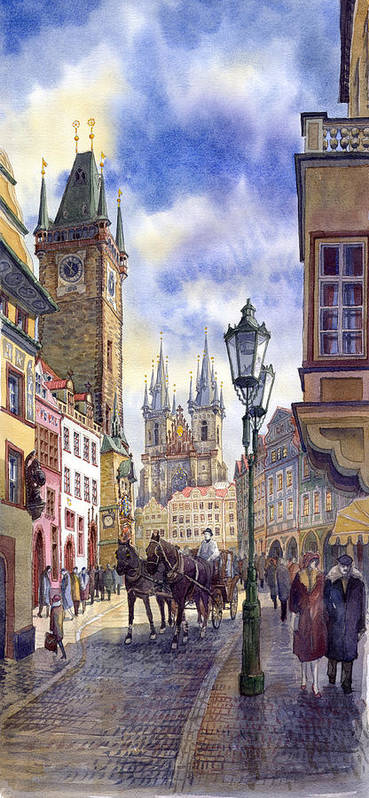 Watercolour Poster featuring the painting Prague Old Town Square 01 by Yuriy Shevchuk