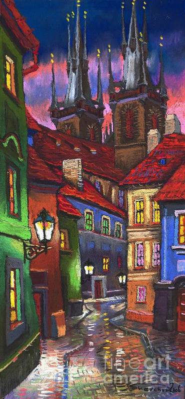 Pastel Poster featuring the painting Prague Old Street 01 by Yuriy Shevchuk