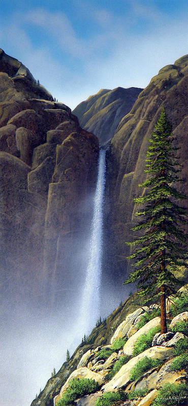 Wilderness Poster featuring the painting Waterfall by Frank Wilson