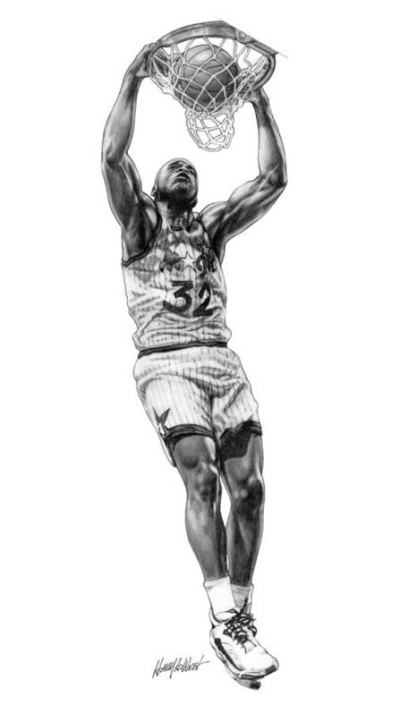 Shaquille O'neal Poster featuring the drawing Shaq Slam by Harry West