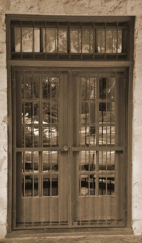 Sepia Poster featuring the digital art Alamo Door by Kirt Tisdale