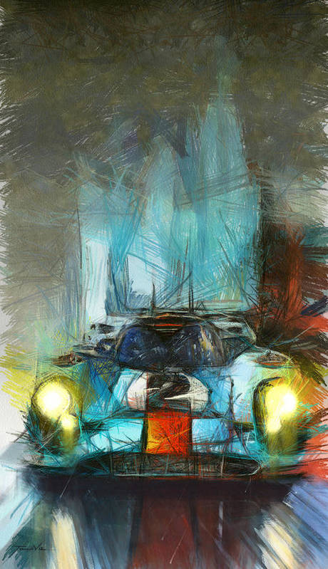 Porsche Poster featuring the painting Dancing In The Rain by Tano V-Dodici ArtAutomobile