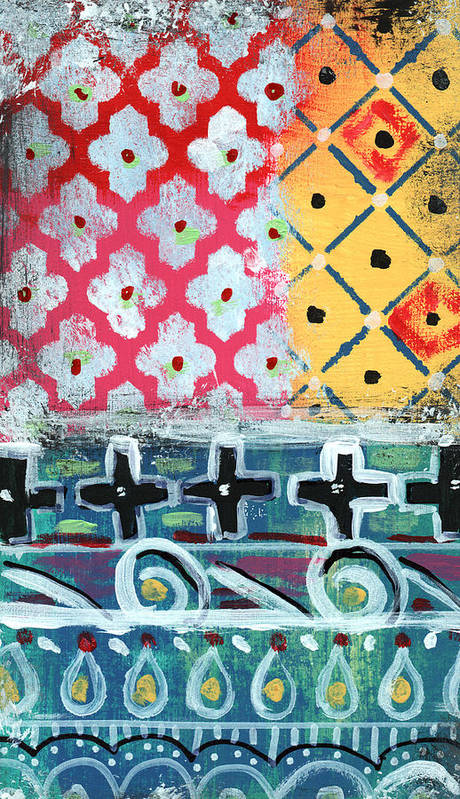 Diamonds Poster featuring the painting Fiesta 6- Colorful Pattern Painting by Linda Woods
