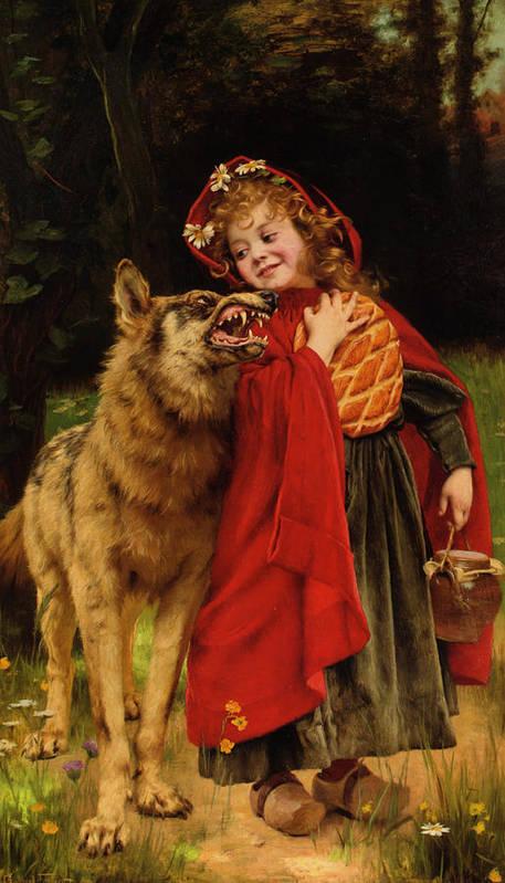 Gabriel Joseph Marie Augustin Ferrier Poster featuring the digital art Little Red Riding Hood by Gabriel Joseph Marie Augustin Ferrier