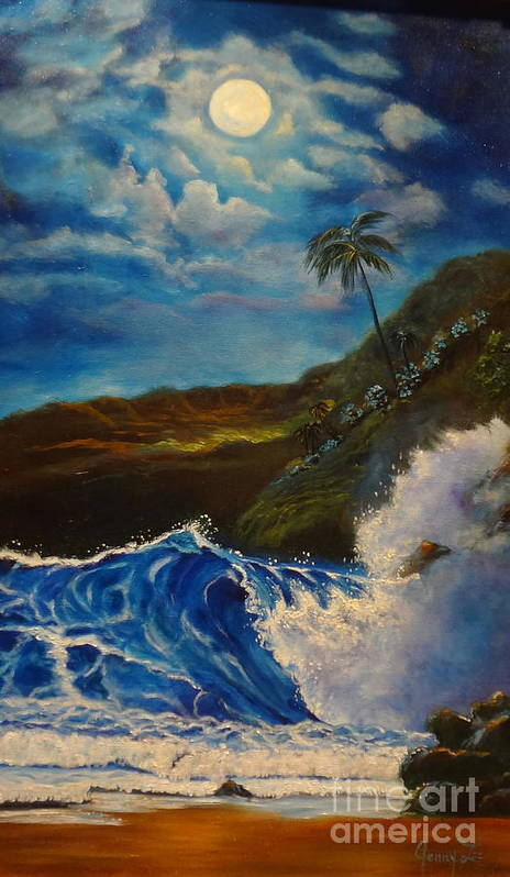 Giant Wave Poster featuring the painting Moonlit Wave 11 by Jenny Lee