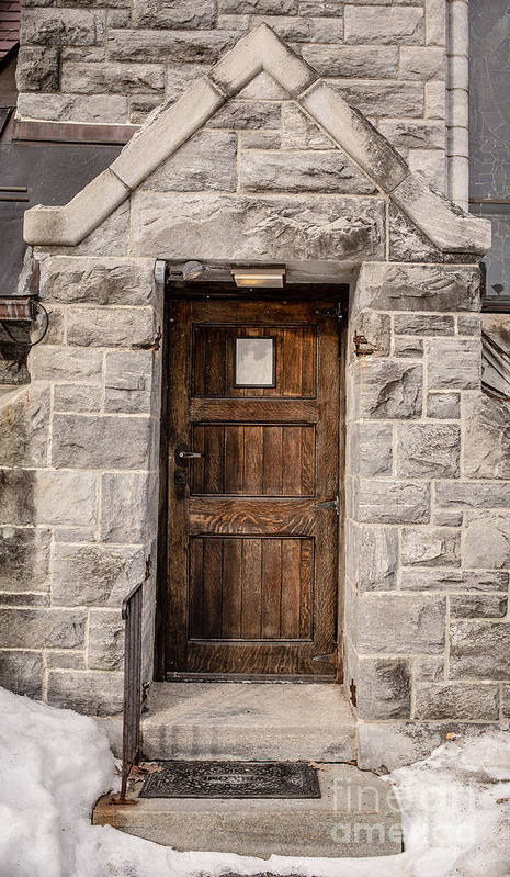 House Poster featuring the photograph Old Stone Church Door by Edward Fielding