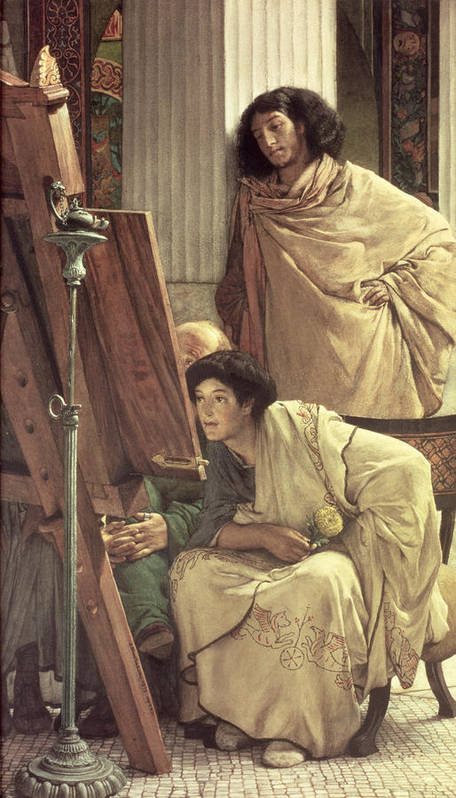 Visit Poster featuring the painting A Visit To The Studio by Sir Lawrence Alma-Tadema