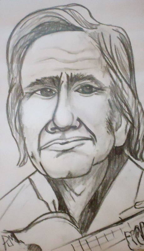 Johnny Cash Poster featuring the drawing Cash Caricature by Pete Maier