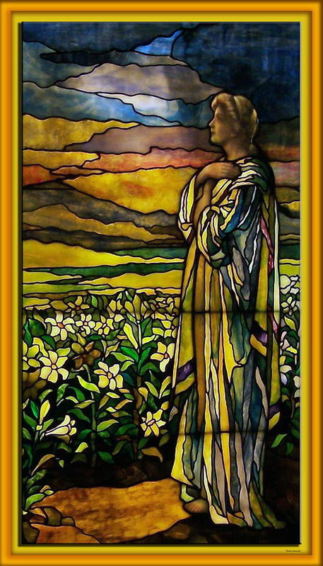 Glass Art Poster featuring the photograph Lady Stained Glass Window by Thomas Woolworth