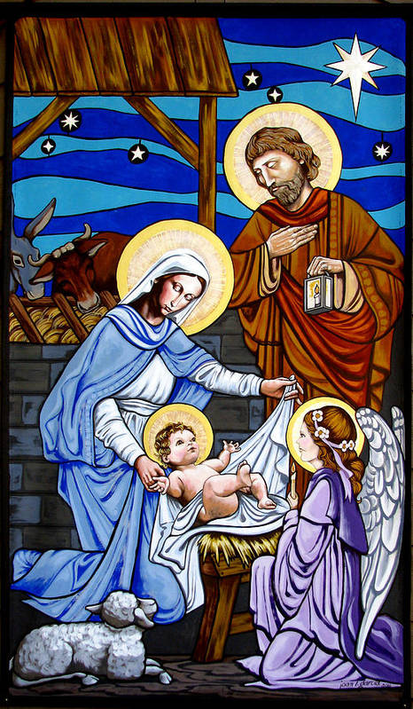 Nativity Poster featuring the painting Nativity At Valley Ranch by Joan Garcia