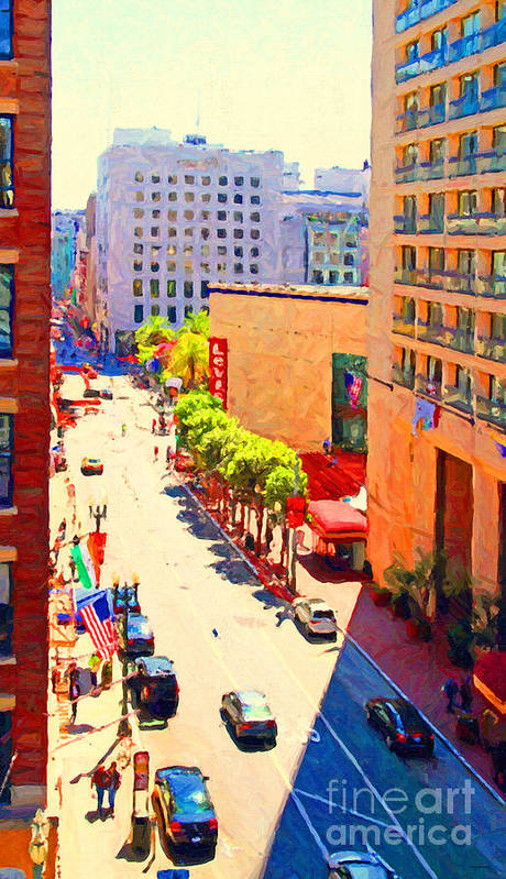 San Francisco Poster featuring the photograph Stockton Street San Francisco . View Towards Union Square by Wingsdomain Art and Photography