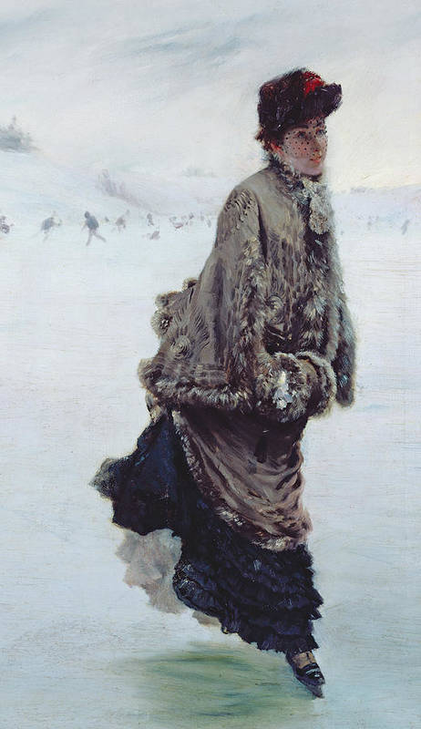 The Skater (oil On Canvas) La Patineuse; Female; Ice Skating; Rink; Snow; Winter; Fur; Muff; Hat; Skates; Leisure; Portrait Poster featuring the painting The Skater by Joseph de Nittis