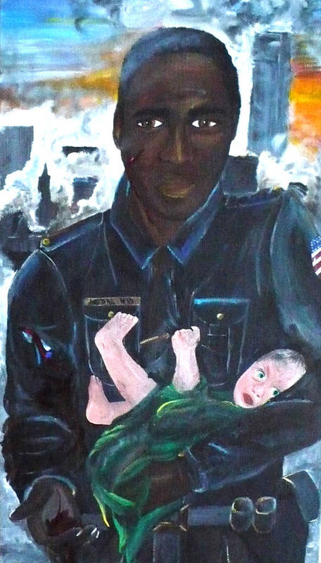Look Into The Eyes Of A Hero. An American Police Officer Rescues An Orphaned Baby. It Was September 11th. Towers Burning Poster featuring the painting American Love by Jesika Breitenfeld