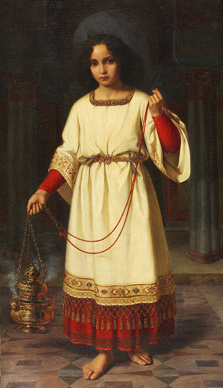 An Altar Boy Poster featuring the painting An Altar Boy by Abraham Solomon