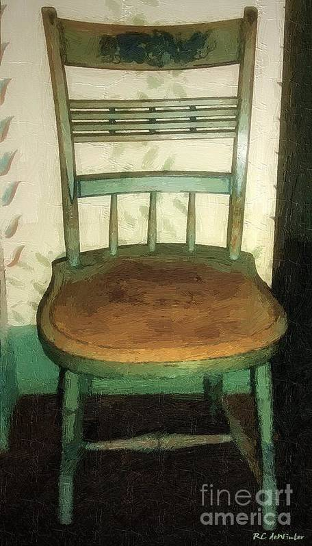Antique Poster featuring the painting Chair In Isolated Corner by RC DeWinter